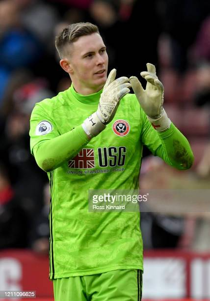 Dean Henderson of Sheffield United after the Premier League match between Sheffield United and Norwich City at Bramall Lane on March 07 2020 in...