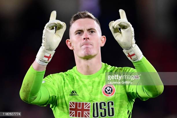 Dean Henderson of Sheffield United celebrates after his teams victory in the Premier League match between Sheffield United and Arsenal FC at Bramall...