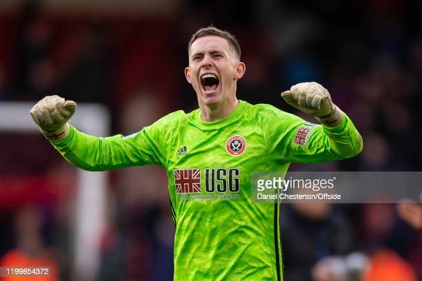 Dean Henderson of Sheffield United celebrates after the Premier League match between Sheffield United and AFC Bournemouth at Bramall Lane on February...