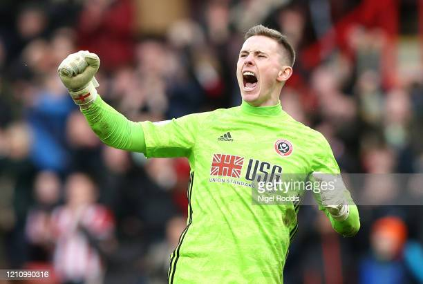 Dean Henderson of Sheffield United celebrates after the Premier League match between Sheffield United and Norwich City at Bramall Lane on March 07,...
