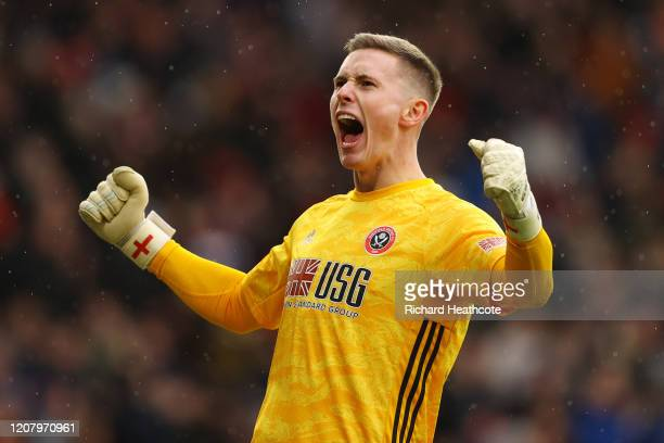 Dean Henderson of Sheffield United celebrates his sides first goal during the Premier League match between Sheffield United and Brighton & Hove...