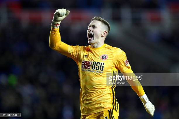 Dean Henderson of Sheffield United celebrates his sides second goal scored by Billy Sharp during the FA Cup Fifth Round match between Reading FC and...