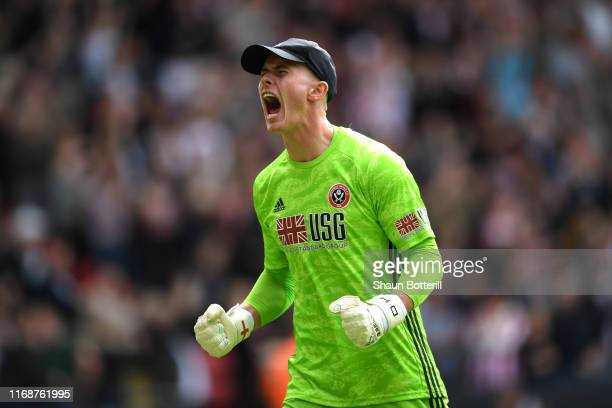 Dean Henderson of Sheffield United celebrates his team's first goal during the Premier League match between Sheffield United and Crystal Palace at...