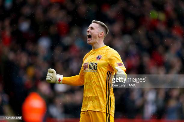 Dean Henderson of Sheffield United celebrates the goal scored by End Stevens of Sheffield United to make it 1-0 during the Premier League match...