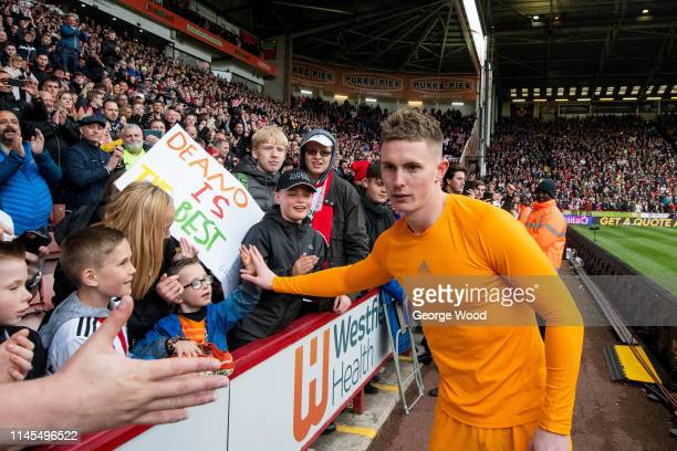 Dean Henderson of Sheffield United celebrates with fans following the Sky Bet Championship match between Sheffield United and Ipswich Town at Bramall...