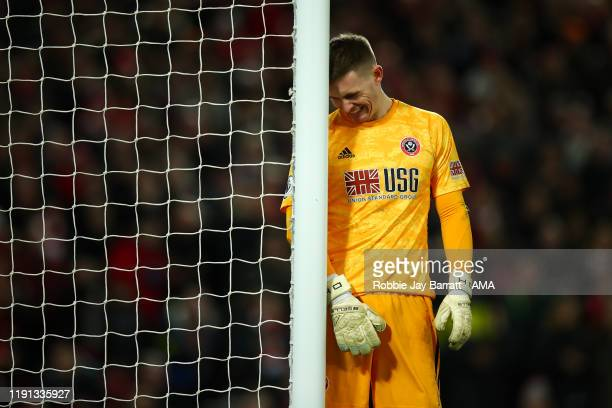 Dean Henderson of Sheffield United reacts after conceding the second goal during the Premier League match between Liverpool FC and Sheffield United...