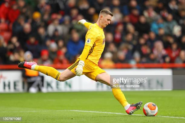 Dean Henderson of Sheffield United takes a goal kick during the Premier League match between Sheffield United and Brighton & Hove Albion at Bramall...