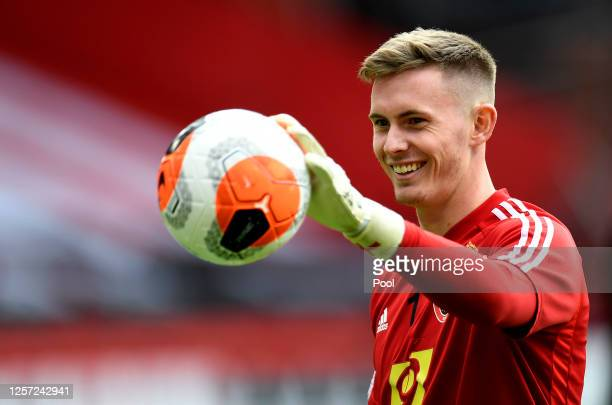 Dean Henderson of Sheffield United warms up prior to the Premier League match between Sheffield United and Everton FC at Bramall Lane on July 20,...