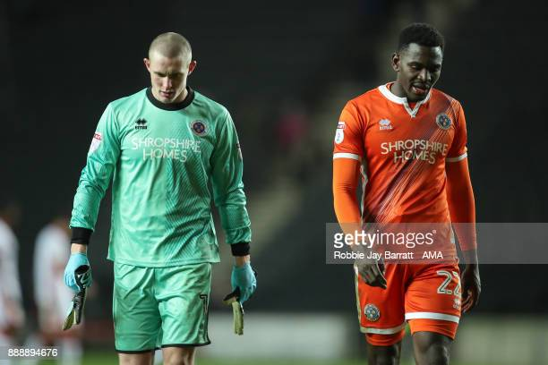 Dean Henderson of Shrewsbury Town and Aristote Nsiala of Shrewsbury Town dejected at full time during the Sky Bet League One match between Milton...