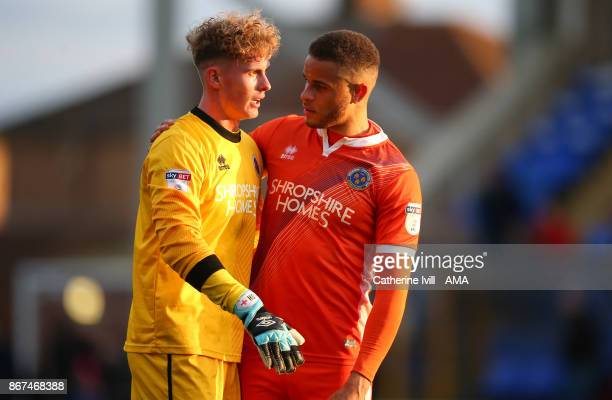 Dean Henderson of Shrewsbury Town and Carlton Morris of Shrewsbury Town during the Sky Bet League One match between Peterborough United and...