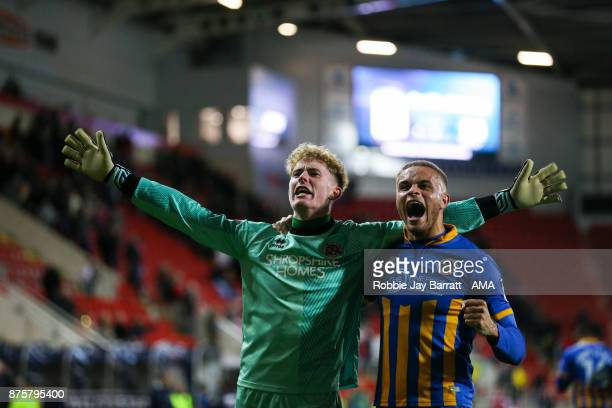 Dean Henderson of Shrewsbury Town and Carlton Morris of Shrewsbury Town celebrate during the Sky Bet League One match between Rotherham United and...