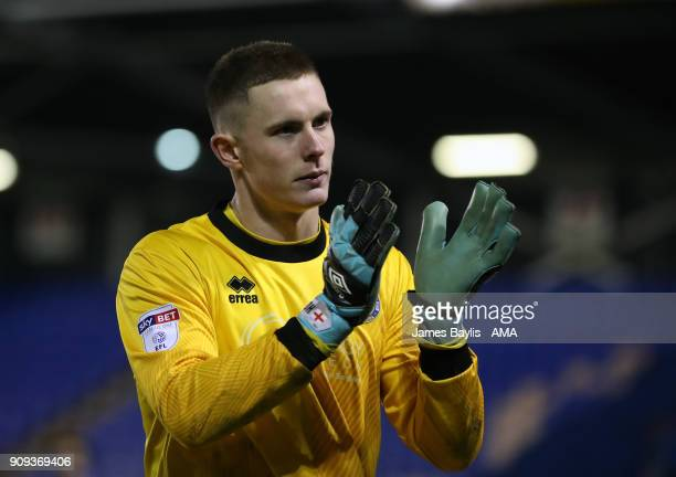 Dean Henderson of Shrewsbury Town at full time after the Checkatrade Trophy match between Shrewsbury Town and Oldham Athletic at New Meadow on...