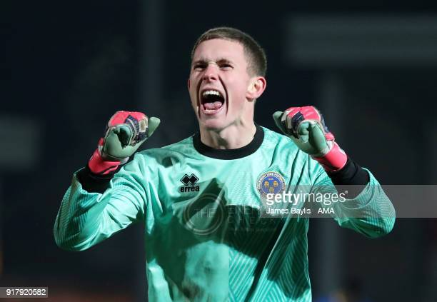 Dean Henderson of Shrewsbury Town celebrates at full time after the Sky Bet League One match between Fleetwood Town and Shrewsbury Town at Highbury...
