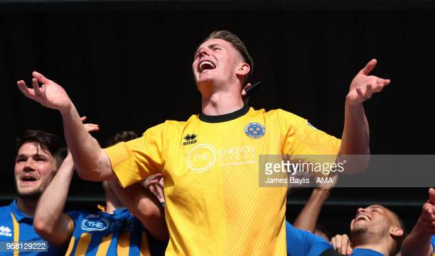 Dean Henderson of Shrewsbury Town celebrates at full time after the Sky Bet League One Play Off Semi FinalSecond Leg between Shrewsbury Town and...