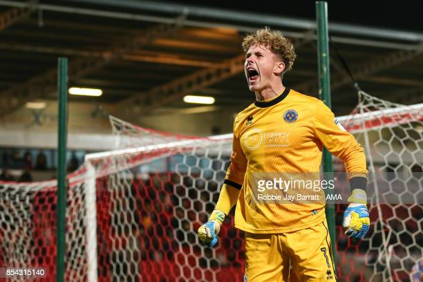 Dean Henderson of Shrewsbury Town celebrates at full time during the Sky Bet League One match between Doncaster Rovers and Shrewsbury Town at...