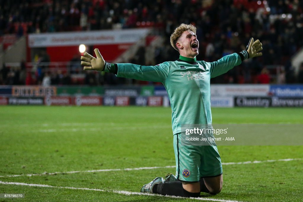Dean Henderson of Shrewsbury Town celebrates at full time during the Sky Bet League One match between Rotherham United and Shrewsbury Town at The New York Stadium on November 16, 2017 in Rotherham, England.