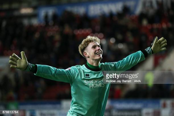 Dean Henderson of Shrewsbury Town celebrates during the Sky Bet League One match between Rotherham United and Shrewsbury Town at The New York Stadium...