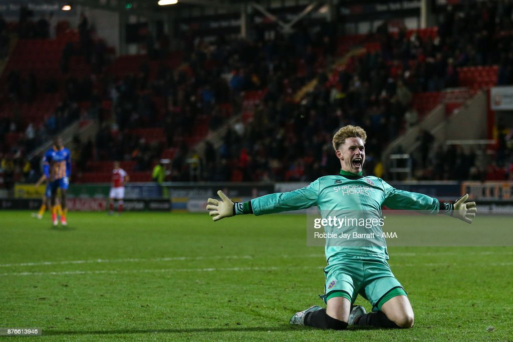 Dean Henderson of Shrewsbury Town celebrates during the Sky Bet League One match between Rotherham United and Shrewsbury Town at The New York Stadium on November 16, 2017 in Rotherham, England.
