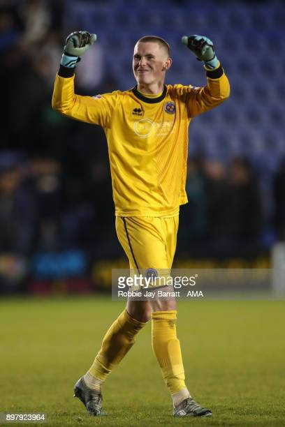 Dean Henderson of Shrewsbury Town celebrates during the Sky Bet League One match between Shrewsbury Town and Portsmouth at New Meadow on December 23...