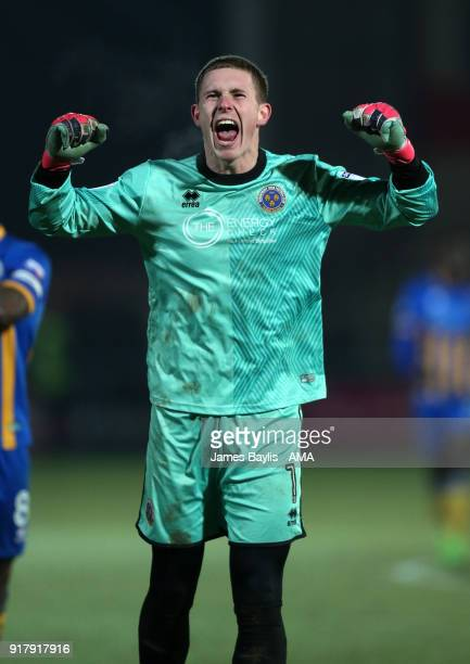 Dean Henderson of Shrewsbury Town celebrates the win at full time after the Sky Bet League One match between Fleetwood Town and Shrewsbury Town at...