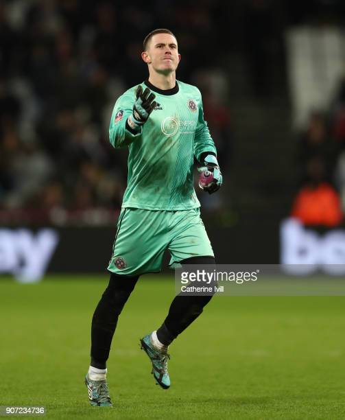 Dean Henderson of Shrewsbury Town during the Emirates FA Cup Third Round Replay match between West Ham United and Shrewsbury Town at London Stadium...