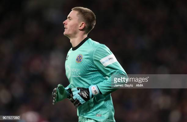 Dean Henderson of Shrewsbury Town during the Emirates FA Cup Third Round Repaly match between West Ham United and Shrewsbury Town at London Stadium...