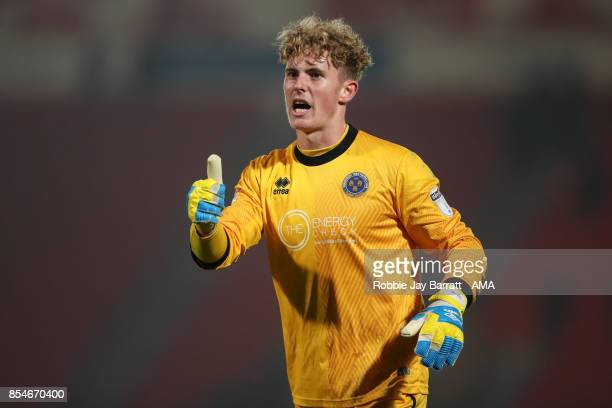 Dean Henderson of Shrewsbury Town during the Sky Bet League One match between Doncaster Rovers and Shrewsbury Town at Keepmoat Stadium on September...
