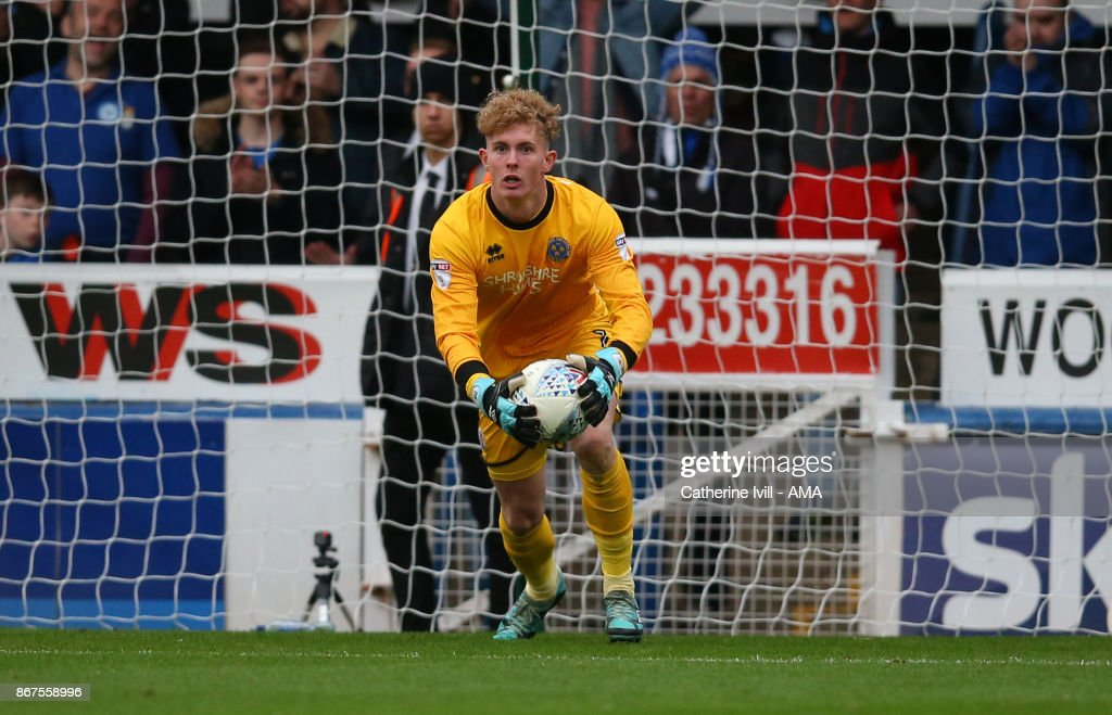 Dean Henderson of Shrewsbury Town during the Sky Bet League One match between Peterborough United and Shrewsbury Town at ABAX Stadium on October 28, 2017 in Peterborough, England.