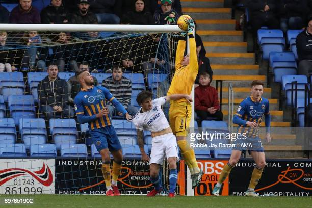 Dean Henderson of Shrewsbury Town during the Sky Bet League One match between Shrewsbury Town and Portsmouth at New Meadow on December 23 2017 in...