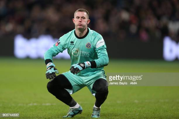 Dean Henderson of Shrewsbury Town looks on during the Emirates FA Cup Third Round Repaly match between West Ham United and Shrewsbury Town at London...