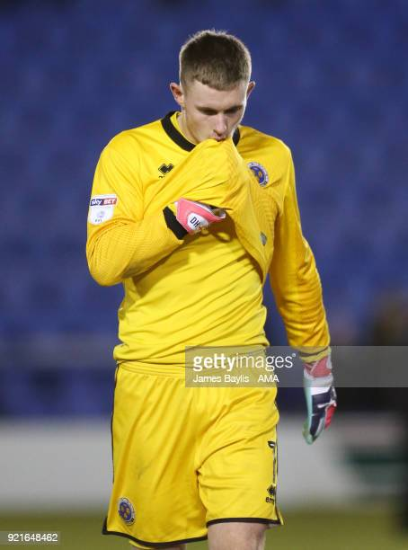 Dean Henderson of Shrewsbury Town reacts at full time during the Sky Bet League One match between Shrewsbury Town and Gillingham at New Meadow on...