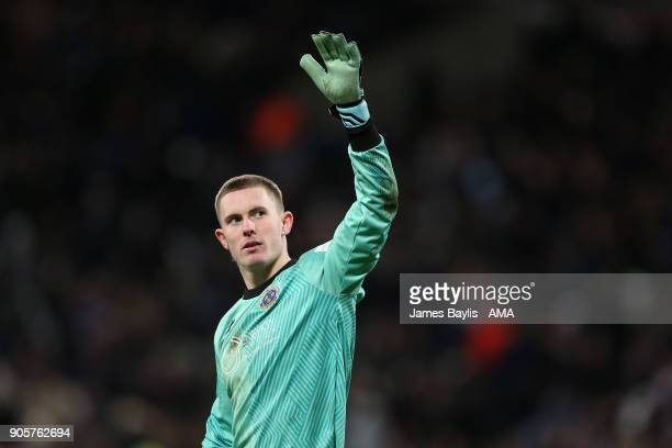 Dean Henderson of Shrewsbury Town salutes the fans during the Emirates FA Cup Third Round Repaly match between West Ham United and Shrewsbury Town at...