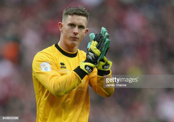 Dean Henderson of Shrewsbury Town shows appreciation to the fans after the Checkatrade Trophy Final match between Shrewsbury Town and Lincoln City at...