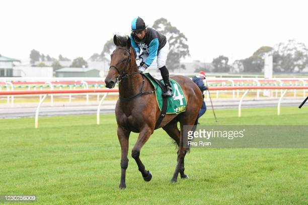 Dean Holland returns to the mounting yard on Realeza after winning the Prestige Jayco Class 1 Handicap, at Geelong Racecourse on December 22, 2020 in...