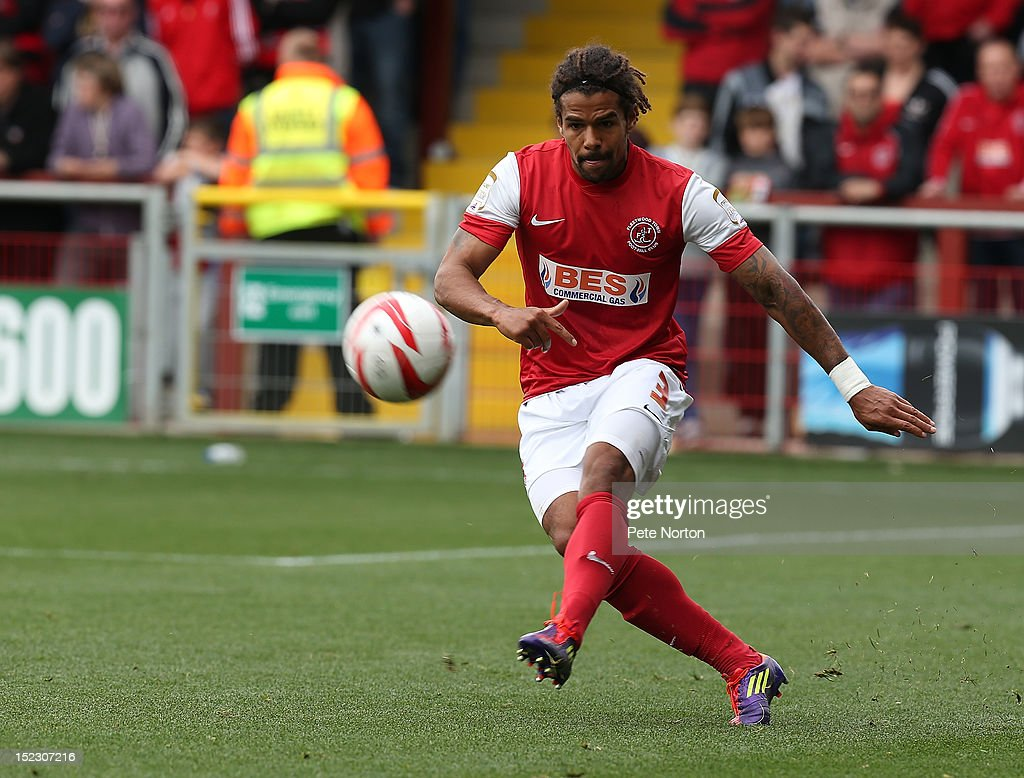Dean Howell of Fleetwood Town in action during the npower League Two match between Fleetwood Town and Northampton Town at Highbury Stadium on September 15, 2012 in Fleetwood, England.