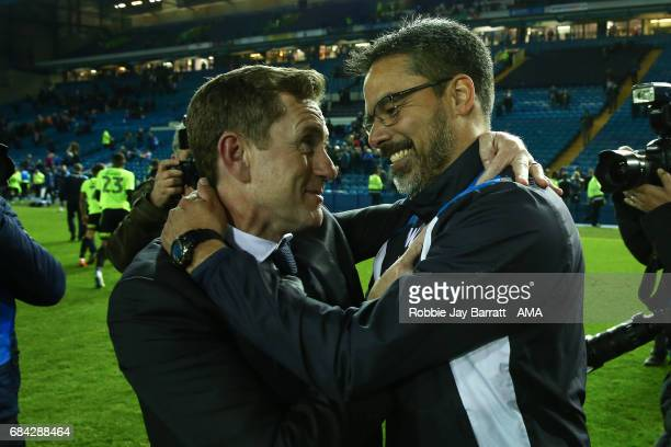 Dean Hoyle chairman of Huddersfield Town and David Wagner head coach / manager of Huddersfield Town during the Sky Bet Championship match between...