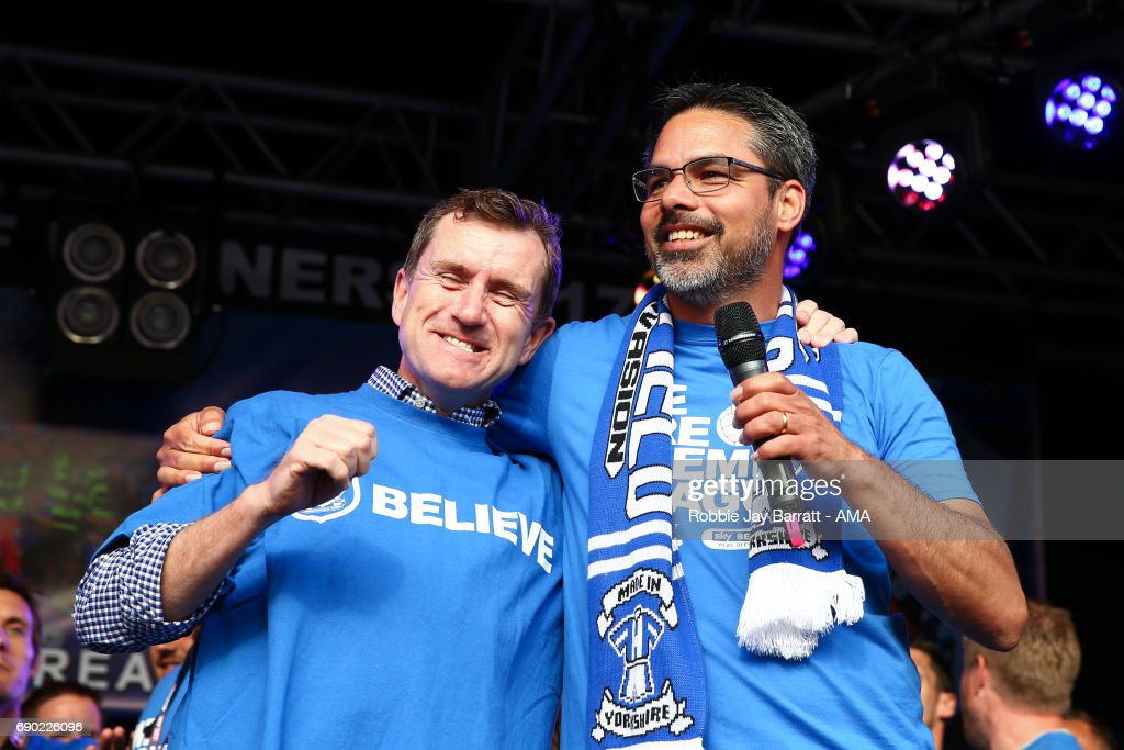 Dean Hoyle chairman / owner of Huddersfield Town and David Wagner head coach / manager of Huddersfield Town on May 30, 2017 in Huddersfield, England. (Photo by Robbie Jay Barratt - AMA/Getty Images) Dean Hoyle;David Wagner