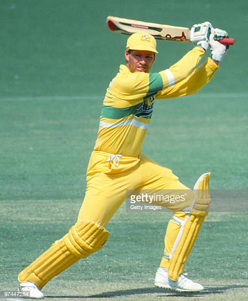 Dean Jones of Australia bats during a One Day International match on February 1, 1990 in Australia.