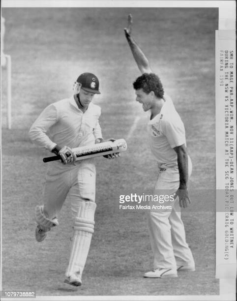 Dean Jones out lbw to Whitney during the NSW vs Victoria match at the SCG today November 11 1991