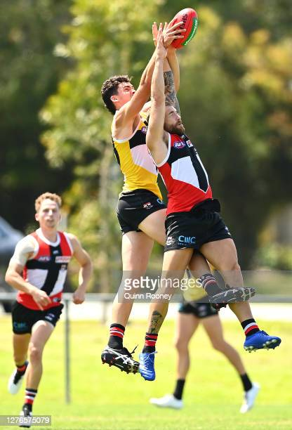 Dean Kent of the Saints marks during a St Kilda Saints AFL training session at Maroochydore Multi Sport Complex on September 25 2020 in Sunshine...