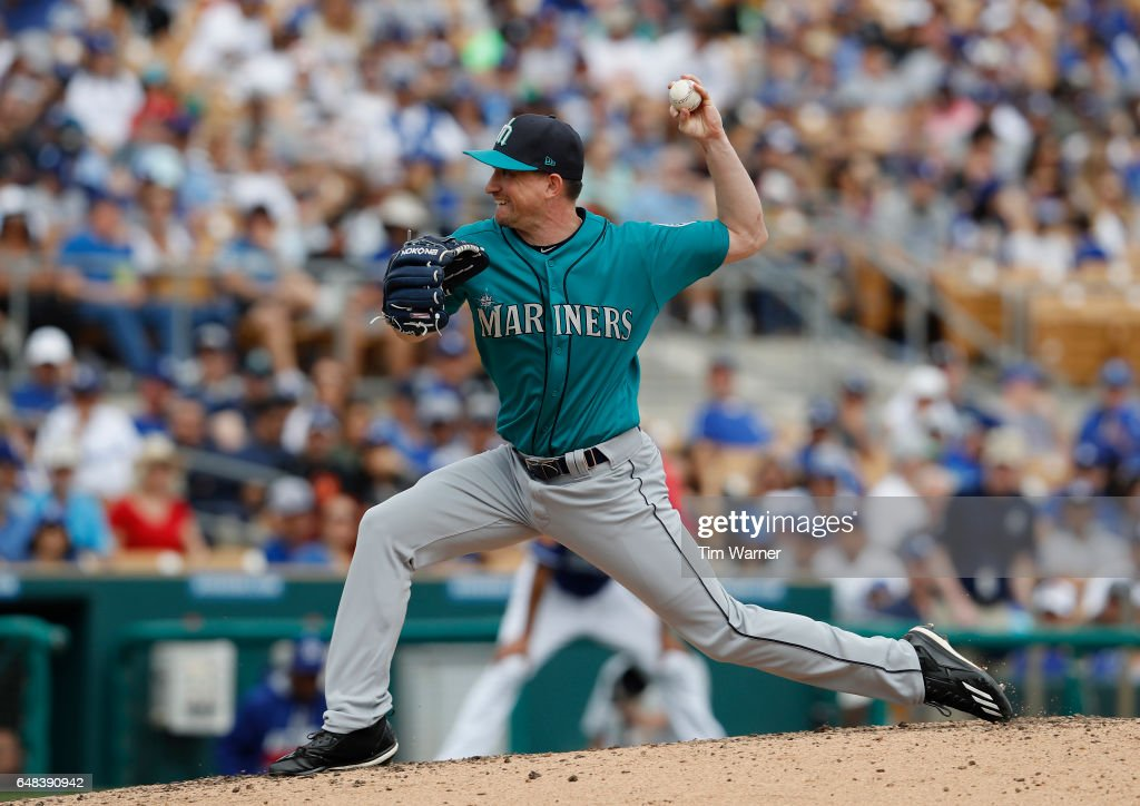Dean Kiekhefer #45 of the Seattle Mariners pitches in the fourth inning against the Los Angeles Dodgers during the spring training game at Camelback Ranch on March 5, 2017 in Glendale, Arizona.