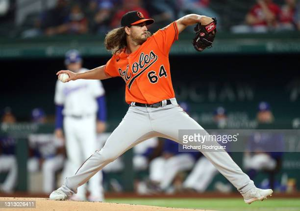 Dean Kremer of the Baltimore Orioles pitches in the first inning against the Texas Rangers at Globe Life Field on April 17, 2021 in Arlington, Texas.