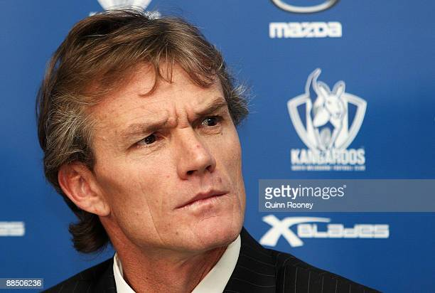 Dean Laidley announces that he is standing down as coach of the North Melbourne Kangaroos AFL Club during a press conference at Arden Street on June...