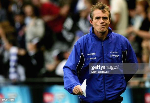 Dean Laidley Coach of the Roos walks to the changing rooms after the clubs big loss in the round three AFL match between the Kangaroos and...