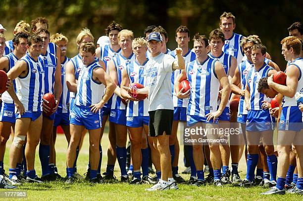 Dean Laidley new Kangaroos coach addresses his players during a Kangaroos training session in North Melbourne Australia on February 12 2003