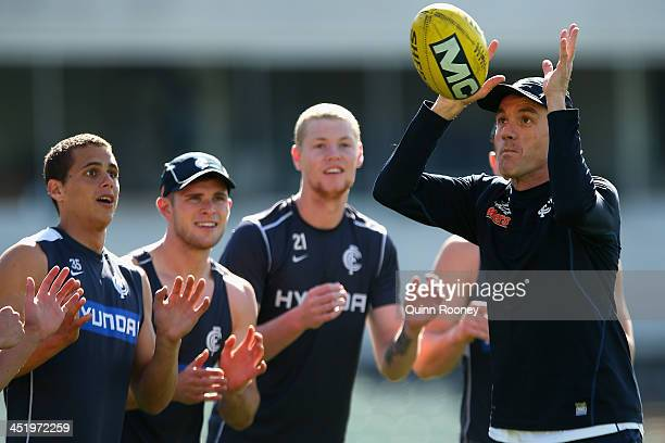 Dean Laidley the assistant coach of the Blues trains his players during a Carlton Blues AFL training session at Visy Park on November 26 2013 in...