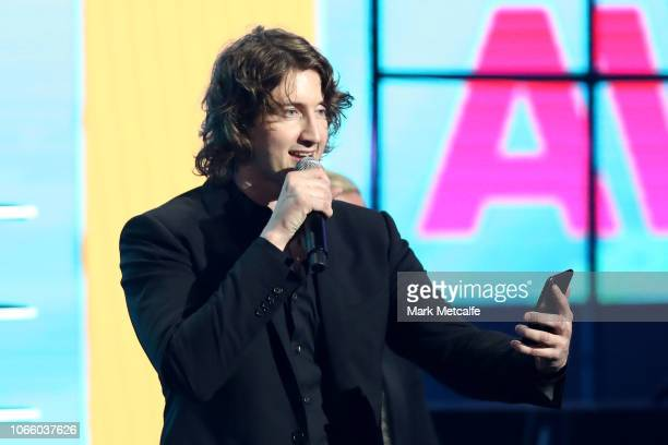 Dean Lewis accepts the ARIA Award for Best Video during the 32nd Annual ARIA Awards 2018 at The Star on November 28 2018 in Sydney Australia