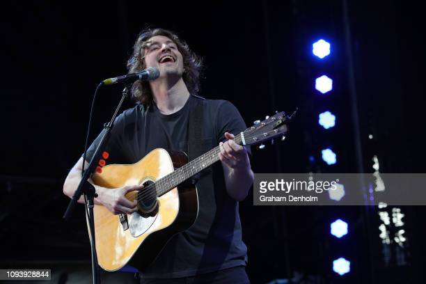 Dean Lewis performs on the AO Live Stage during day one of the 2019 Australian Open at Melbourne Park on January 14 2019 in Melbourne Australia
