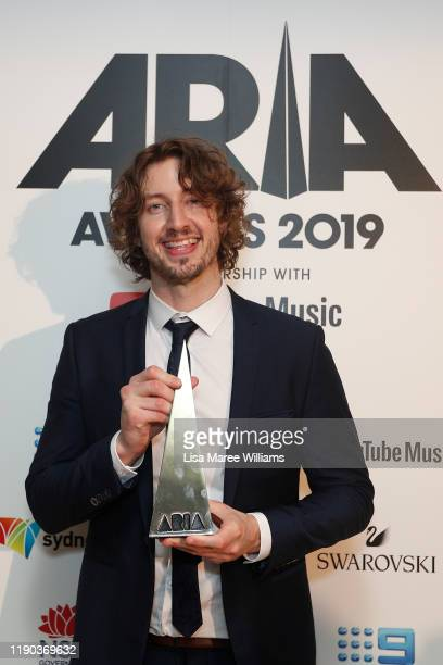 Dean Lewis poses in the awards room with an ARIA for Album of The Year during the 33rd Annual ARIA Awards 2019 at The Star on November 27 2019 in...