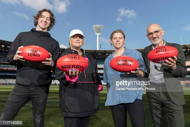 Dean Lewis, Tones and I, Conrad Sewell and Paul Kelly pose for a photo during the 2019 AFL Grand Final Entertainment Announcement at Melbourne...